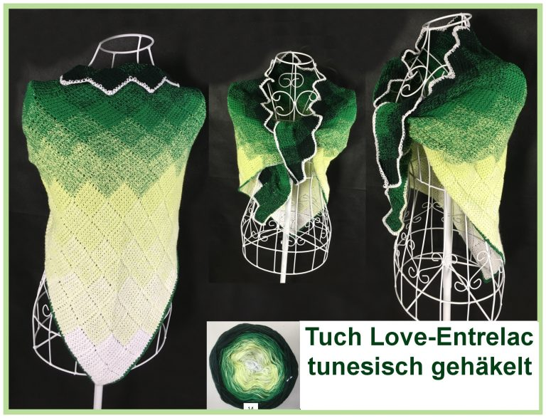 """Tuch """"Love Entrelac"""" tunesisch gehäkelt schriftliche Anleitung: https://www.crazypatterns.net/de/items/22393/tuch-love-entrelac-tunesisch-gehaekelt-mit-1-bobbel?ref=VeronikaHug"""