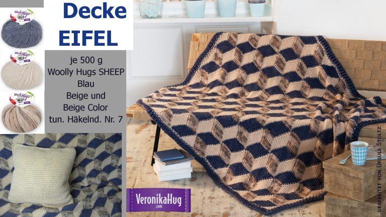 "Decke ""EIFEL"" YouTube: https://youtu.be/zTseHTVm86U crazypatterns: https://www.crazypatterns.net/de/items/17314/decke-eifel-in-3-d-optik?ref=VeronikaHug"