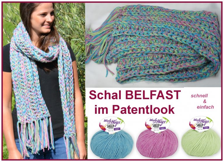 "Schal ""Belfast"" in 2 Stunden gehäkelt schriftliche Anleitung: https://www.crazypatterns.net/de/items/22399/schal-belfast-in-2-stunden-gehaekelt-mit-woolly-hugs-sheep?ref=VeronikaHug"