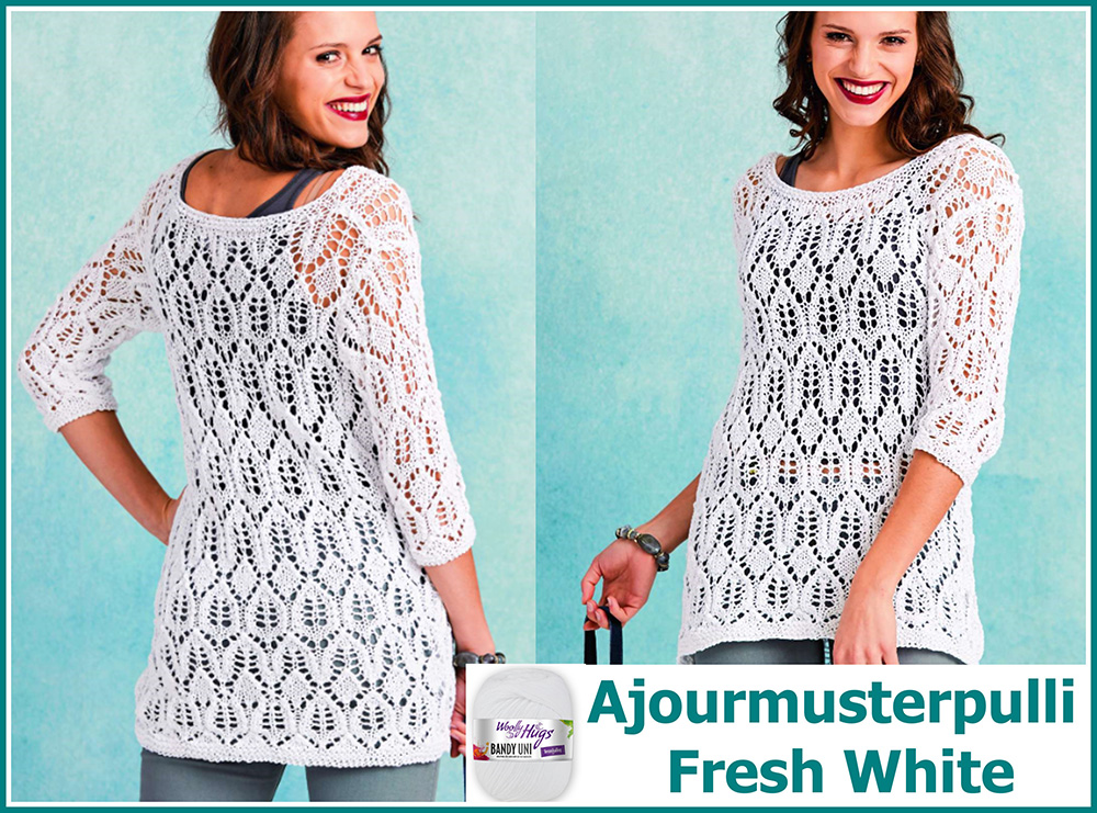 Ajourmusterpulli Fresh White Collage