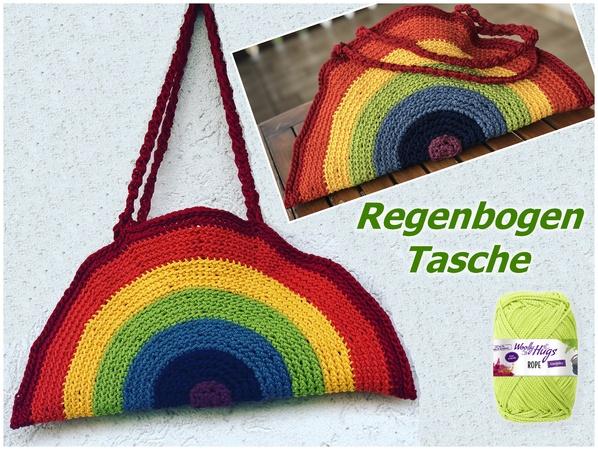 Regenbogen Tasche Haekeln 598x450